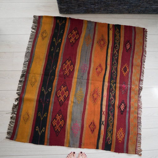 Vintage 4x4 Turkish Jijim Carpet | Kilim Rug