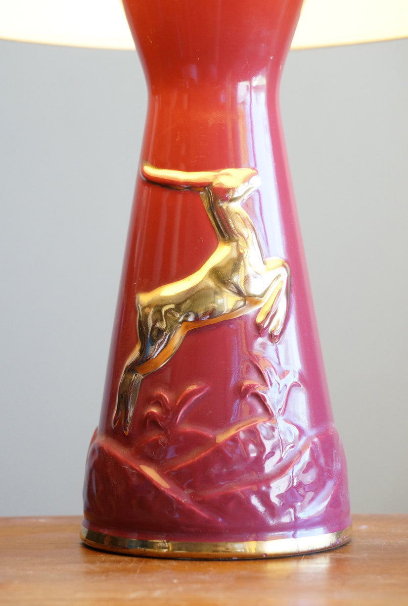 Vintage Cranberry and Gold Deer Lamp