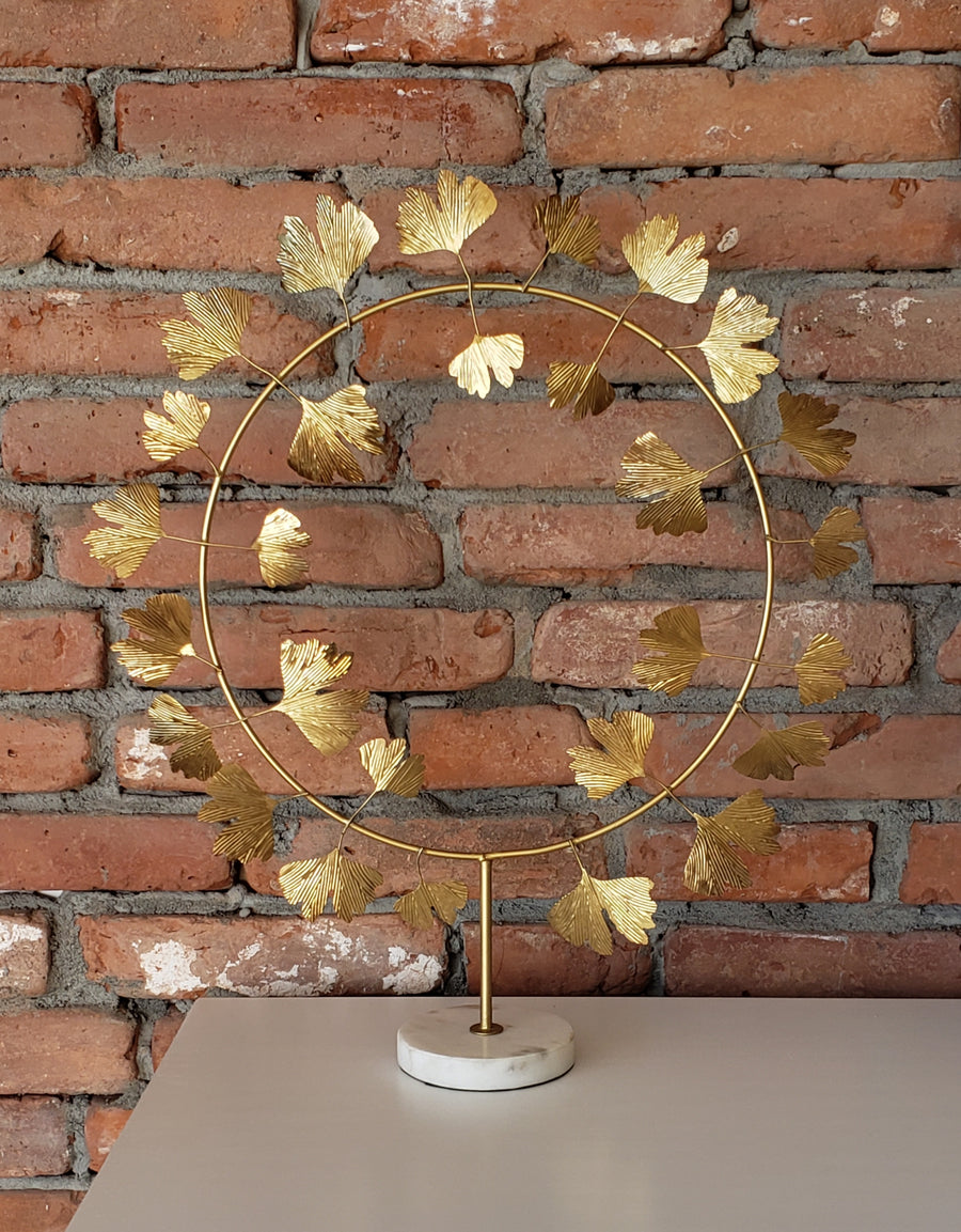 INDABA Gingko Wreath on Marble Stand
