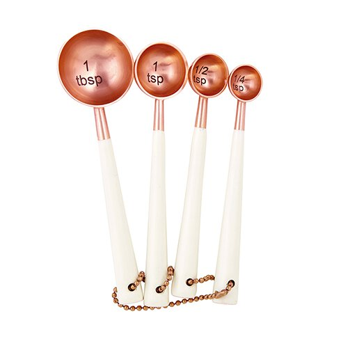 47th & MAIN Copper and White Enamel Measuring Spoons