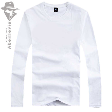 Abeillevie 2017 New Men T shirts Fashion Cotton Long Sleeve T shirt for Men Big Casual Long Sleeve Crew Tees Brand Clothing 1702