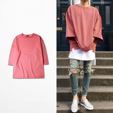 New half sleeve t shirts oversized men tees homme Kanye WEST style clothing t-shirt hip hop pink streetwear mens t shirts