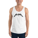 A model wearing a Aloha Tribe Hawaii unisex tank top that has Hawaii themed graphic logos on the front.