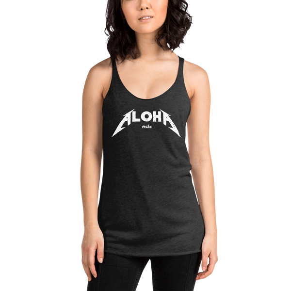 Young female wearing a Aloha Tribe Hawaii racerback tank top that has Hawaii themed graphic logos on the front.