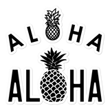 A set of Aloha Tribe Hawaii logo stickers in multiple sizes with urban street themed graphics.
