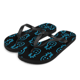 A pair of Aloha Tribe Hawaii flip flops which are also called slippers with a cool Hawaii themed graphic print.