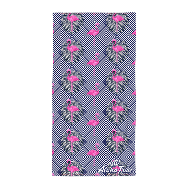 Aloha Tribe Hawaii large beach towel with pattern of lines and flamingo themed graphic print.