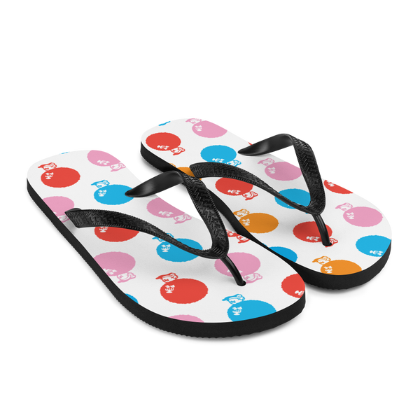 A pair of Alter Ego Hawaii flip flops which are also called slippers with a cool Hawaii themed graphic print.