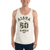 Young model wearing a Alter Ego Hawaii unisex tank top that has a Hawaii themed graphic logo on the front.
