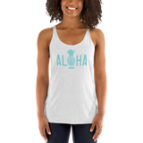 Young female adult wearing a Alter Ego Hawaii racerback tank top that has a Hawaii themed graphic logo on the front.