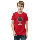Preteen model wearing a Alter Ego Hawaii T-shirt that has a Hawaii themed graphic logo on the front.
