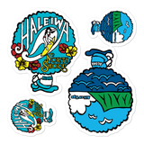 A set of Alter Ego Hawaii logo stickers in multiple sizes with urban street themed graphics.