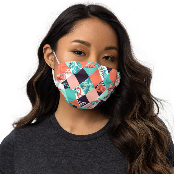 Aloha Tribe Argyle Flamingo Premium Face mask