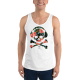 Young male wearing a Rhythm Arts Hawaii unisex tank top that has a urban street themed graphic logo on the front.