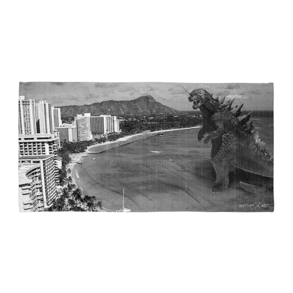 Rhythm Arts Hawaii large beach towel with a graphic of Waikiki Beach and Diamond Head. Godzilla is heading to shore.