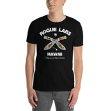 Young male wearing a Rogue Labs Hawaii T-shirt that has a urban street themed graphic logo on the front.