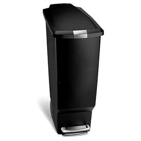 simplehuman Slim Pedal Bin - 40 L, Black Plastic - Country Kitchenware