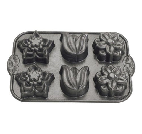 Nordic Ware Pro-Cast Floral Cupcake Pan, Grey - Country Kitchenware