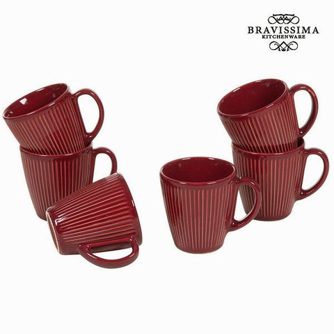 Bravissima Kitchen - Set of 6 Burgundy Coffee Mugs