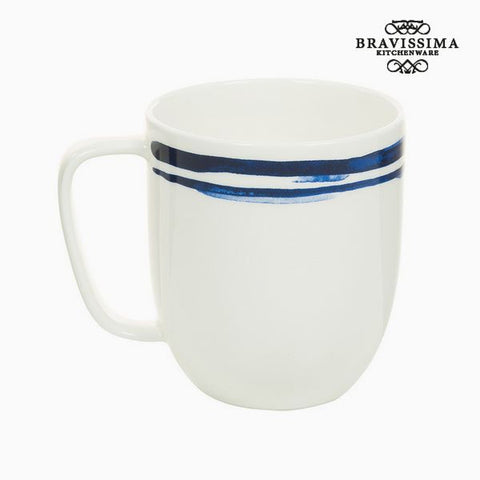 Bravissima Kitchen - Porcelain Blue Stripes Coffee Mug - Country Kitchenware