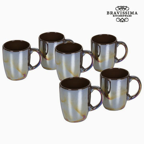 Bravissima Kitchen - Set Of Brown China Mugs (6 Pieces)