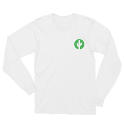 White Saguaro Cactus Long Sleeve T-Shirt by Cactus Goods