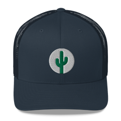 Cactus Mid Profile Trucker Hat - Green on White