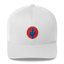 Cactus Mid Profile Trucker Hat - Blue on Red