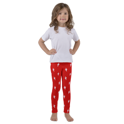 Kid's Cactus Leggings - White and Red