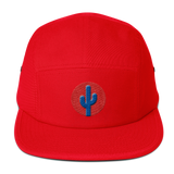Cactus Five Panel Cap - Blue on Red