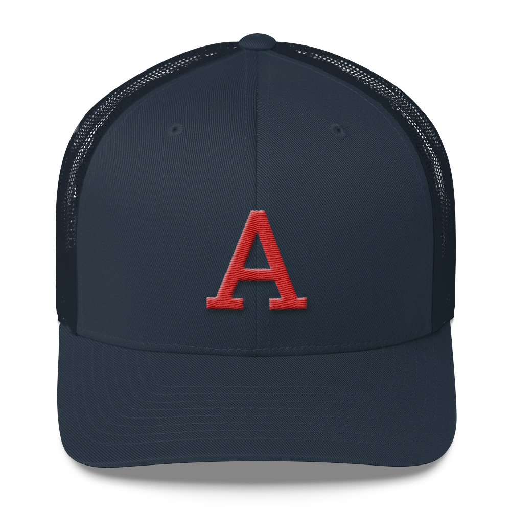Red A Mid Profile Trucker Hat
