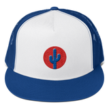 Cactus Trucker Hat - Blue on Red