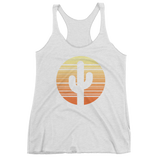Heather White Cactus and Sunset Tank Top by Cactus Goods
