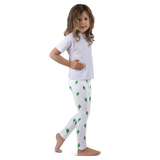 Kid's Cactus Leggings - Green and White