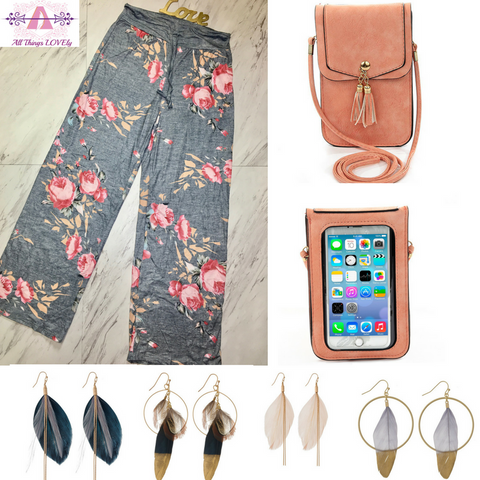 Pajama pants feather earrings cross body cell phone purse boutique giveaway