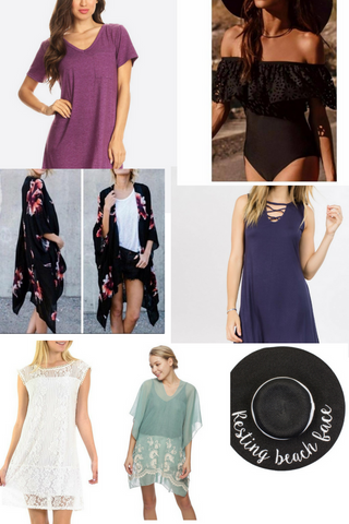 Sundresses and swim cover ups and hats to take to the beach
