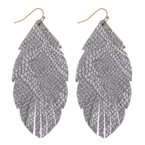 Silver Snake Skin Feather earrings