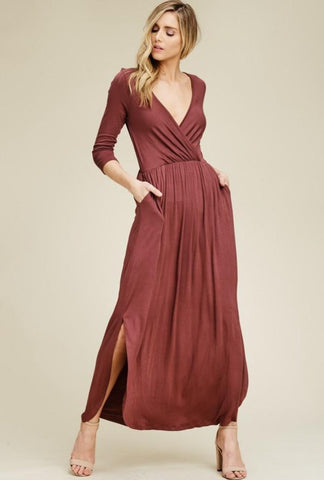 Berry V-Neck Maxi Dress