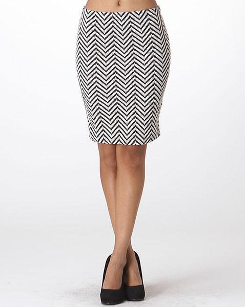 Black and White Chevron Skirt for Women