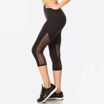 Black Lace Capri Workout leggings Small Lace Capri Workout Leggings