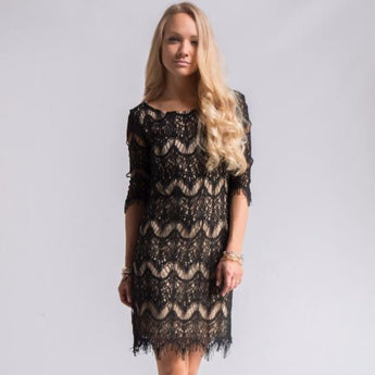 Black Lace Overlay Party Dress Small Black Lace Overlay Party Dress