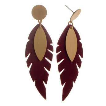 Burgundy Feather leather earring Burgundy Feather Faux Leather Earring