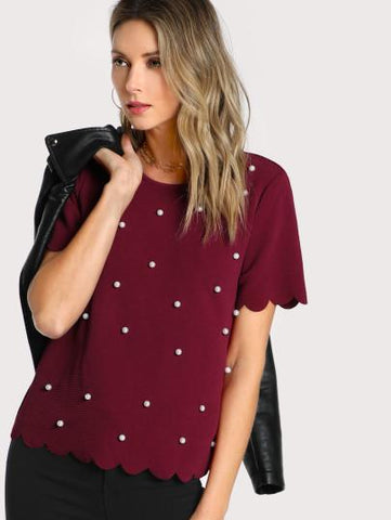 Burgundy Scallop Top with Pearls XS Burgundy Scallop Top with Pearls