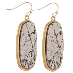 Faux Marble Oblong Drop Earrings Faux Marble Oblong Drop Earrings