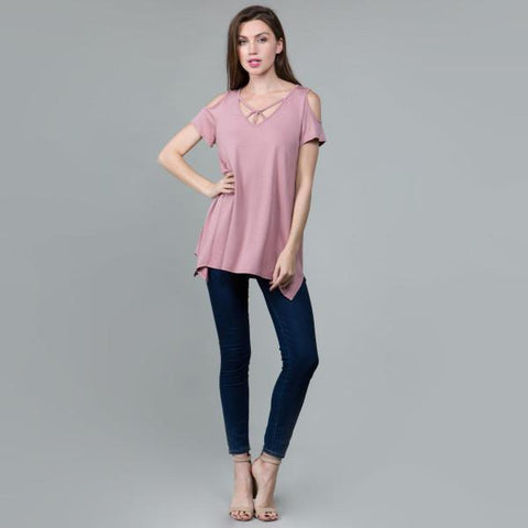 Mauve Cold Shoulder Top Small Mauve Cold Shoulder Top