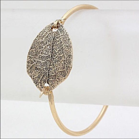 Metal Leaf Bracelet Aged gold