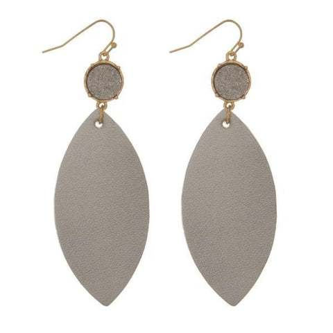 Silver Faux Leather Earrings with Druzy Stone Silver Faux Leather Earrings with Druzy Stone
