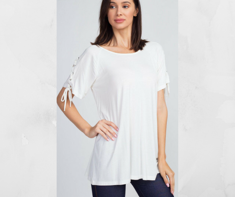 Small Off White Lace Up Basic Top