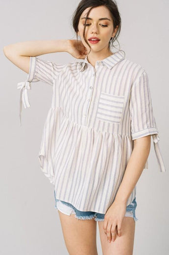 Stripe babydoll top Small The Sue Stripe Babydoll Boho Top