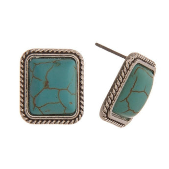 turquoise silver stud earrings Turquoise Stud Earring